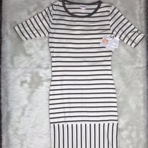 LuLaRoe NWT Julia Dress Gray Striped Sz XS